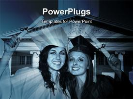 PowerPoint template displaying two graduates with a building in background