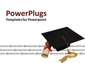 PowerPoint template displaying cap and diploma