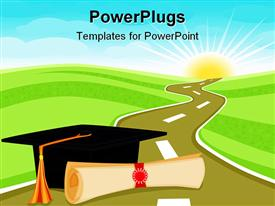 PowerPoint template displaying graduation theme with rolled diploma papyrus and graduating hat on a road through field, light blue sky and glowing sun in the background