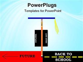 PowerPoint template displaying created depiction of a pencil with graduation cap and diploma