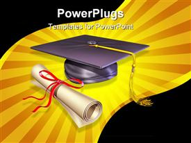 PowerPoint template displaying graduation cap, diploma showing education importance