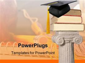 PowerPoint template displaying white pillar holding three big books and a graduation cap on top