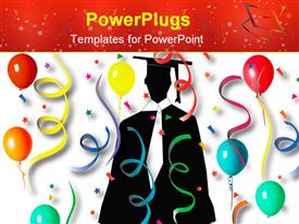 PowerPoint template displaying a graduate in the middle with lots of balloon and celebration material around