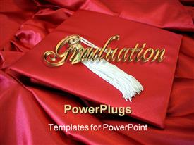 PowerPoint template displaying graduation cap with white tassle laying on top of gound red background