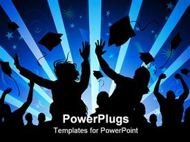 PowerPoint template displaying silhouettes of graduating students throwing graduation caps in the air people celebrating graduation