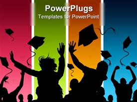 PowerPoint template displaying students celebrating graduation on multicolored background