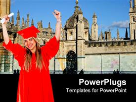 PowerPoint template displaying a female graduating student with a red colored cape and scroll