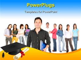 PowerPoint template displaying students dressed for school with black graduation cap and certificate