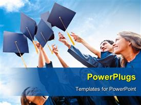 PowerPoint template displaying successful students throwing graduation hats in the air