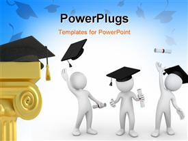 PowerPoint template displaying graduation cap and a diploma at bottom and a blue background with tossing caps