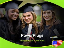 PowerPoint template displaying group of graduation girls looking very happy