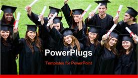 PowerPoint template displaying a group of graduates who are happy
