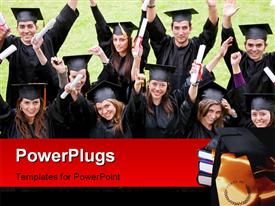 PowerPoint template displaying happy graduating students with diplomas raised high and graduation cap on book pile