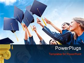 PowerPoint template displaying a number of people celebrating their graduation