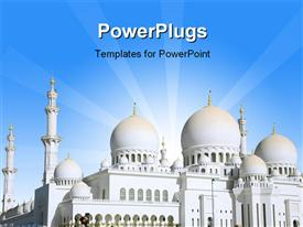 PowerPoint template displaying sheikh Zayed Mosque is Largest in United Arab Emirates in the background.