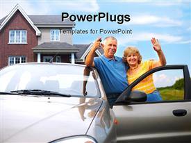 PowerPoint template displaying elderly couple near their home. Real estate and insurance concept
