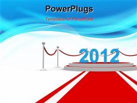 PowerPoint template displaying new year 2012 on a red carpet. Computer generated depiction