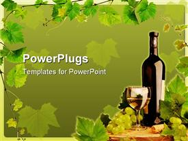 PowerPoint template displaying design with white wine still life and grapevine border