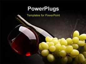 Still-life with bunch of grapes and red wine powerpoint design layout