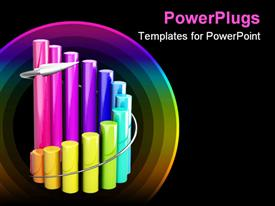 PowerPoint template displaying curved cylindrical multi colored bar chart on black background