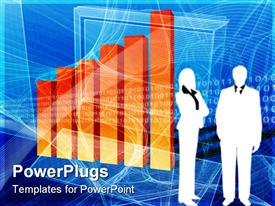 PowerPoint template displaying two business people standing beside an orange bar chart