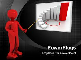 PowerPoint template displaying large red colored 3D character pointing at a white board