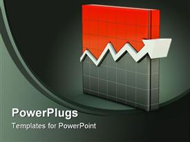 PowerPoint template displaying graph icon . Red series