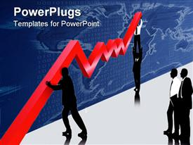 PowerPoint template displaying business people works on a economic recovery in the background.