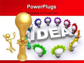 PowerPoint template displaying gold man kneels before gold light bulb on pillar and 3D word IDEA