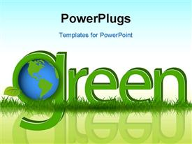 PowerPoint template displaying the word green with a globe and bluish background