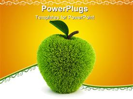 Green fur apple apples 3D rendering powerpoint template