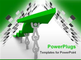 PowerPoint template displaying several figures team up to push up a green arrow symbolizing teamwork and growth