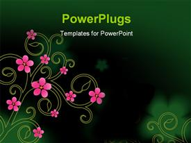 PowerPoint template displaying a pretty pink floral design on a green background