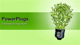 PowerPoint template displaying green bulb as symbol of sustainable energy and nature protection in the background.