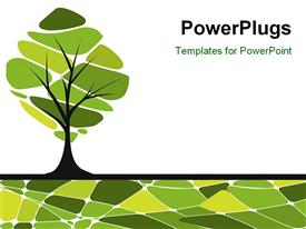 PowerPoint template displaying card design with stylized trees and text for you in the background.