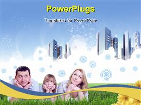PowerPoint template displaying a family of three lying on a grass field