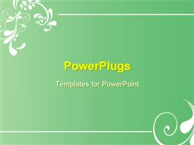 PowerPoint template displaying abstract flower design over green frame