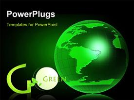 PowerPoint template displaying the green globe with the words go green