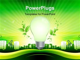 PowerPoint template displaying glowing light bulb centered over green city with tall buildings
