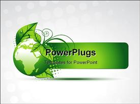 PowerPoint template displaying green globe with map and green leaves on white background