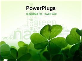 PowerPoint template displaying green clover leafs border with space for text