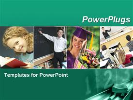 PowerPoint template displaying green template with education and school collage. Illustrates education, school, academic, learning in the background.