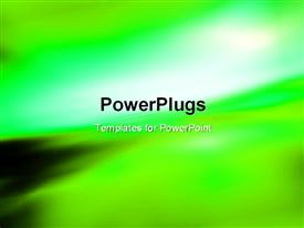 PowerPoint template displaying green motion blur abstract background. Speed concept