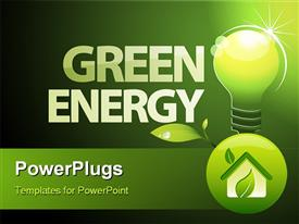 PowerPoint template displaying word green energy with environment friendly light bulb and foliage