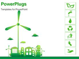 PowerPoint template displaying green and ecology city, thanks to a good energy in the background.