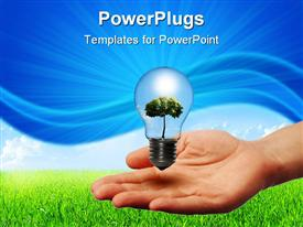 PowerPoint template displaying little glowing light in the palms against the blue sky and green grass