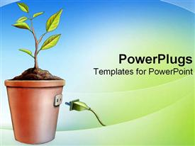 PowerPoint template displaying plant imitating energy source with plug hooked into pot in the background.