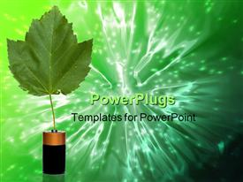PowerPoint template displaying single leaf growing from D cell battery green background
