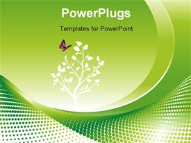 PowerPoint template displaying environmental concept in green with flowers and a butterfy