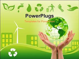 PowerPoint template displaying green environmentally conscious city view with clam energy source and recycle icons at top